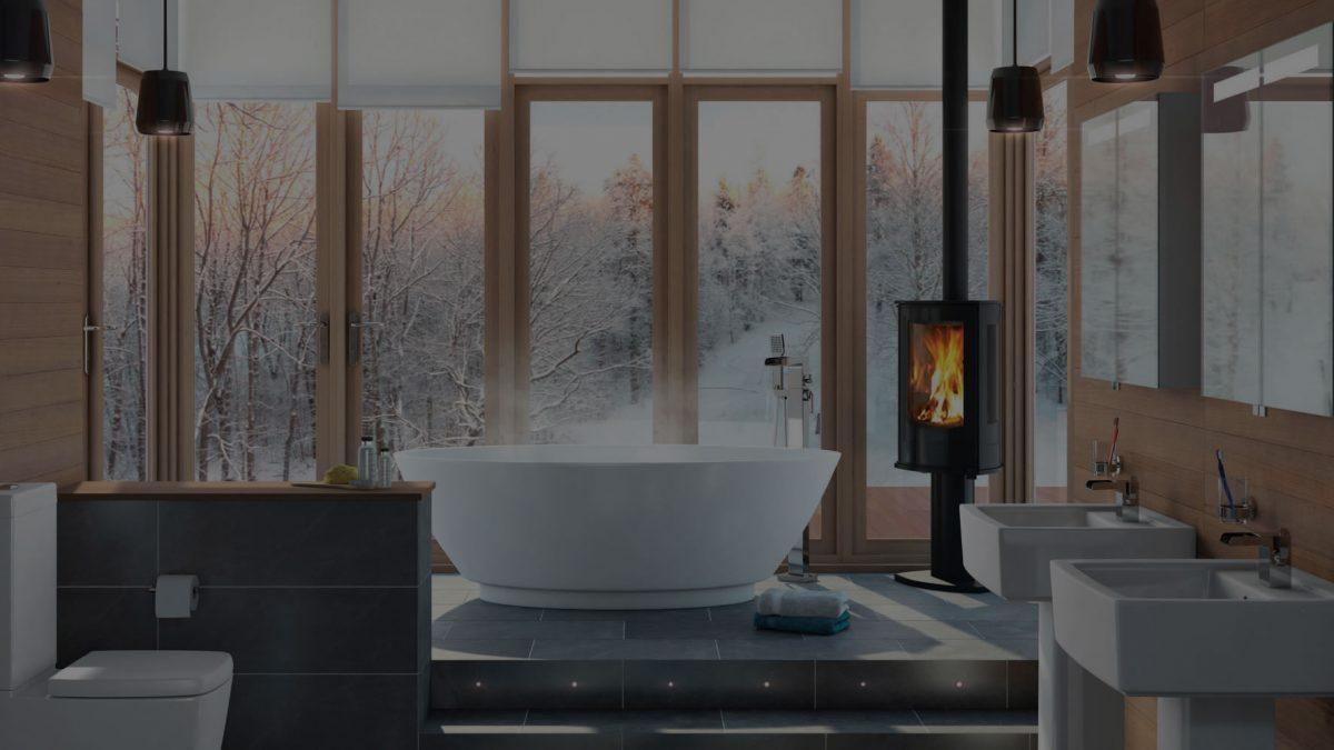 luxury bathroom with bath tub and fire pit
