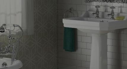 luxury bathroom with bath and sink