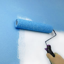 person painting a wall with a roller brush